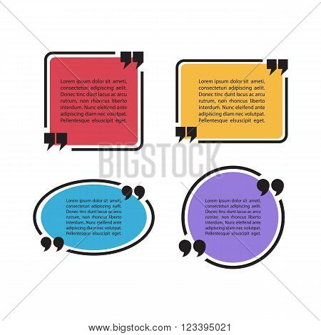 Set of color quote text bubbles. Quotation mark speech bubbles. Set of quote sign icons. Quote blank template. Quote bubble. Empty template. Quote form. Vector illustration.