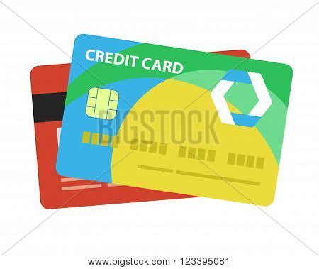 Credit card. Single flat icon on white background. Vector illustration