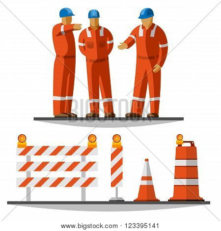 Construction workers discussion. Traffic safety cone, drum, barricade and vertical panel with flash lights. Vector isolated illustration