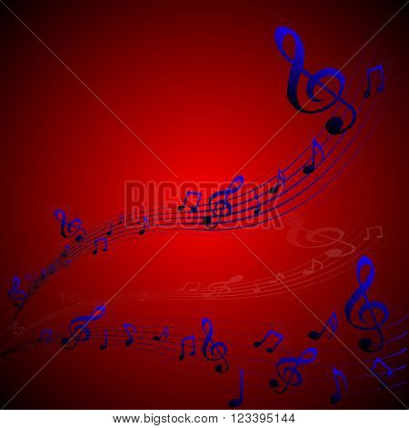 Vector illustration of musical abstraction, motif, treble clef