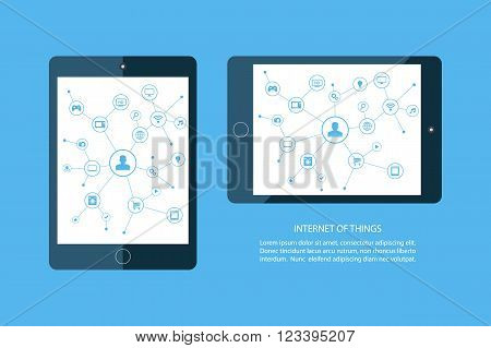 Internet of things concept. Mobile tablet and smart home devices icons. Consumer and connected devices. Internet networking, online shopping. Vector illustration.