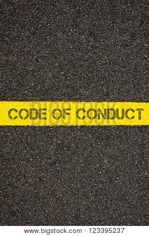 Road Marking Yellow Line With Words Code Of Conduct