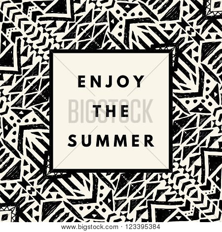 Enjoy the summer hipster boho chic background with aztec tribal mexican texture. Minimal printable journaling card, creative card, art print, minimal label design for banner, poster, flyer.