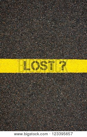 Road Marking Yellow Line With Word Lost