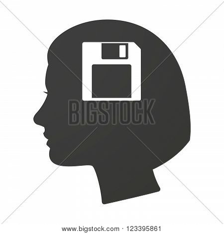 Isoalted Female Head Icon With A Floppy Disk