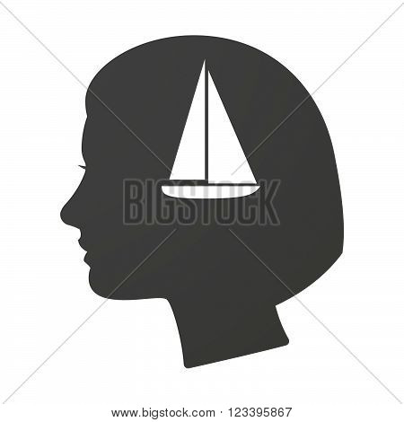 Isoalted Female Head Icon With A Ship