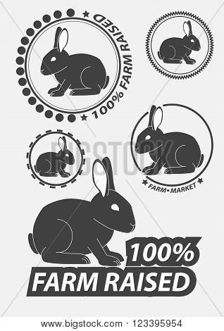 Set of vector silhouette of the rabbit hare. Hare hunting. Rabbits silhouettes. Vector illustration