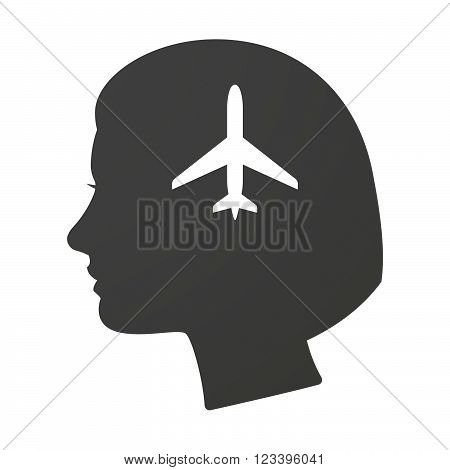 Isoalted Female Head Icon With A Plane