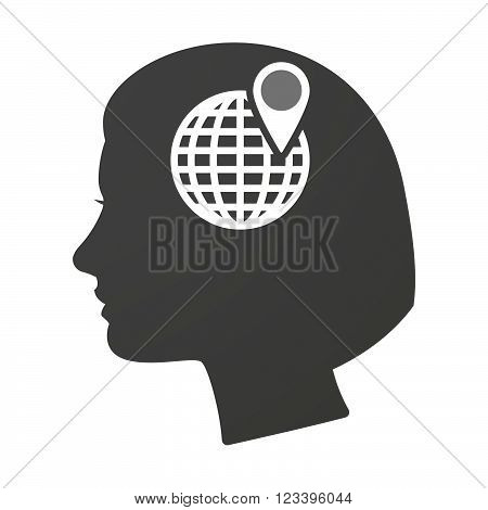 Isoalted Female Head Icon With A World Globe
