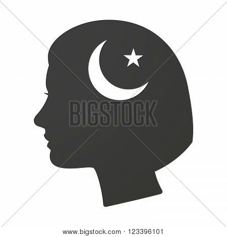 Isoalted Female Head Icon With An Islam Sign
