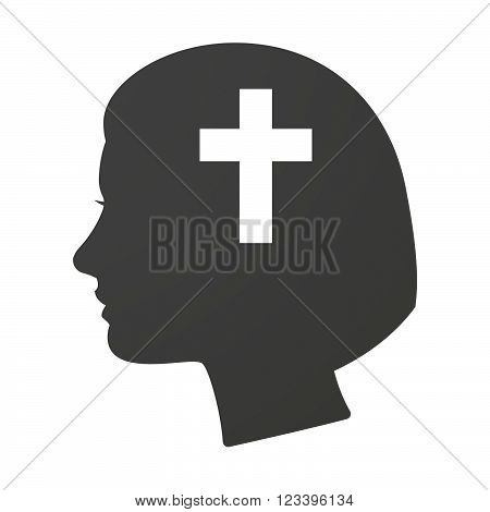 Isoalted Female Head Icon With A Christian Cross