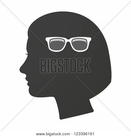 Isoalted Female Head Icon With A Glasses