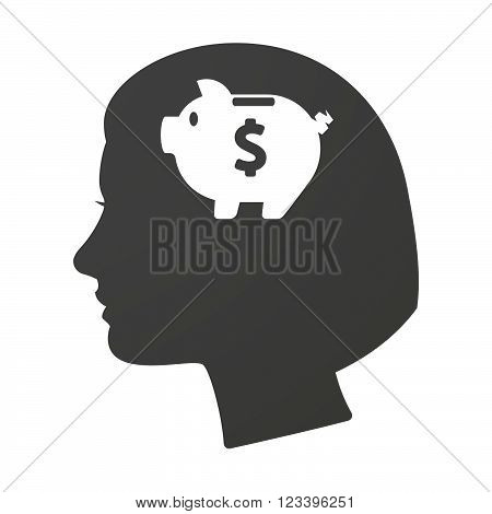 Isoalted Female Head Icon With A Piggy Bank