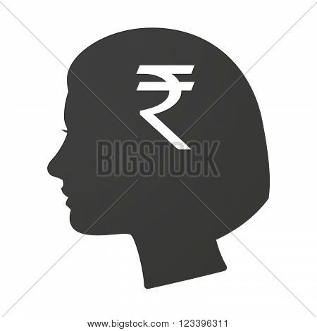 Isoalted Female Head Icon With A Rupee Sign