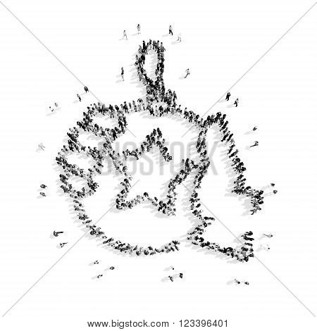 A group of people in the shape of Christmas decorations, Christmas, flashmob.3D illustration.black and white
