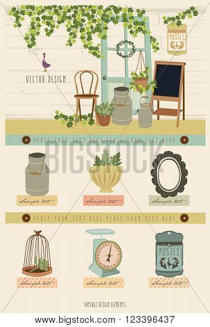 Cute Vintage Vector Elements 4