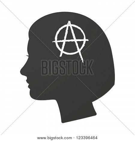 Isoalted Female Head Icon With An Anarchy Sign