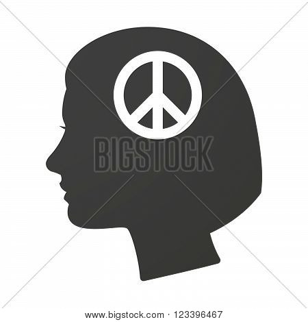 Isoalted Female Head Icon With A Peace Sign
