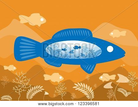 Fish on the background of the sea floor with an abstract representation of the world. Vector illustration