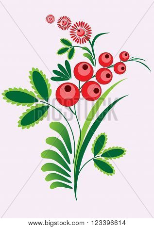 Rowan berries branch with berrie and leaves on white background. Vector illustration