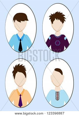 Cartoon Illustration Of A Handsome Young Man With Various Hair Style. Vector