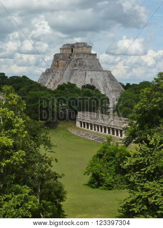 A shot of ancient Mayan ruins in the Yucatan jungle taken from an elevated vantage point