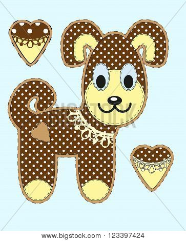 Cute Cartoon Dog In Flat Design For Greeting Card, Invitation And Logo With Fabric Texture. Vector