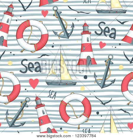 Nautical pattern with sailboat, seagulls, life buoy, anchor and lighthouse made in the vector. White background.