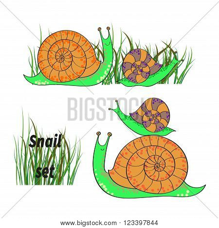 Cute cartoon snails set. Collection of hand drawn vector illustrations isolated on white background.