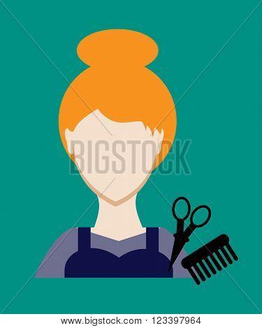 Profession People Hairdresser. Face Female Uniform. Avatars In Flat Design. Vector