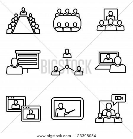 Vector line conference icons set. Business communication. Conference Icon Object Conference Icon Picture Conference Icon Image - stock vector