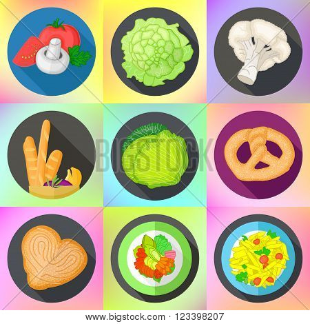 Set of various icons with vegetables, cauliflower and cabbage, bavarian bread, meat steak, italian pasta. Vector flat style pictograms collection of food.