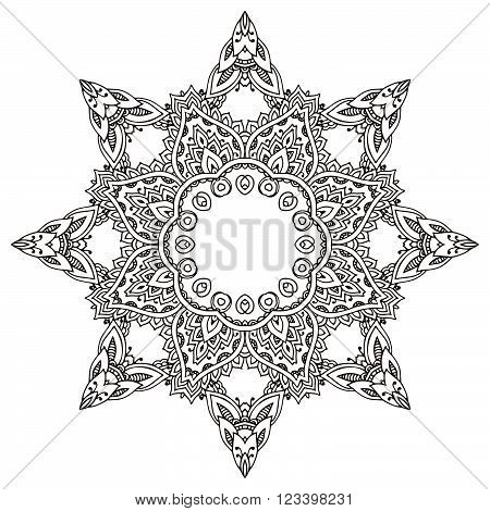 Vector Flower Mandala With Hand Drawn Floral  Henna Elements.