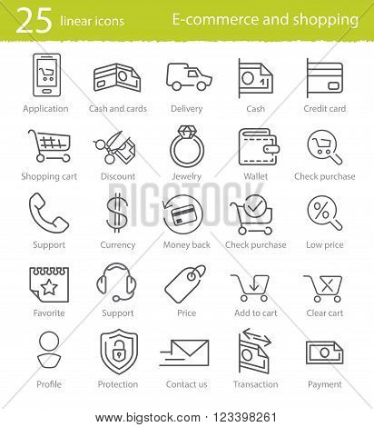 E-commerce shopping and web store thin line icons set