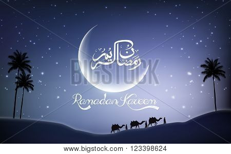Illustration of Ramadan kareem with camel walks through in desert on night day