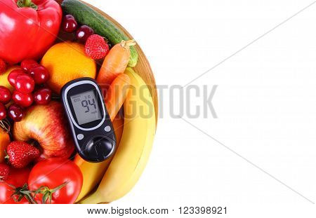 Glucose meter with fresh ripe fruits and vegetables, copy space for text, concept of diabetes, healthy food, nutrition and strengthening immunity. Isolated on white background