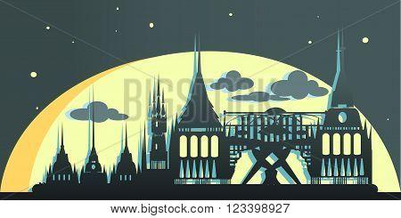 Abu Dhabi United Arab Emirates vampire city. Vector illustration
