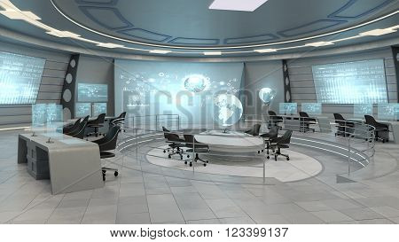 Futuristic interior view of office with holographic screen, technology concept. 3D rendering