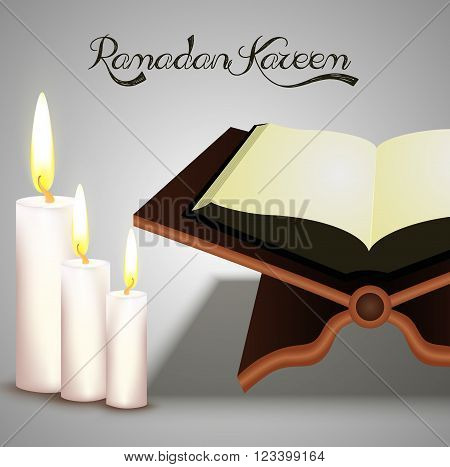 Illustration of Open holy Islamic religious book Quran Shareef with wax on shiny white background