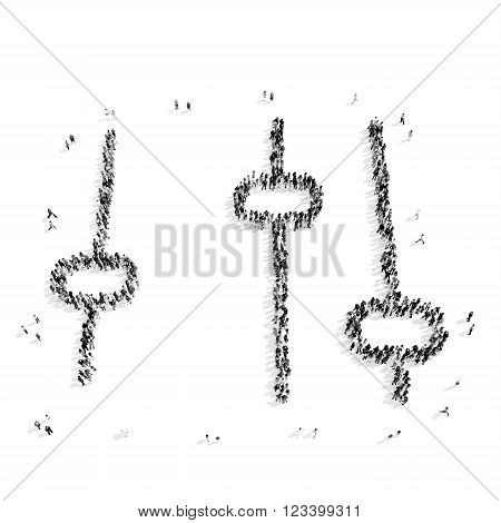 A group of people in the shape of adjustment, flash mob.3D illustration.black and white