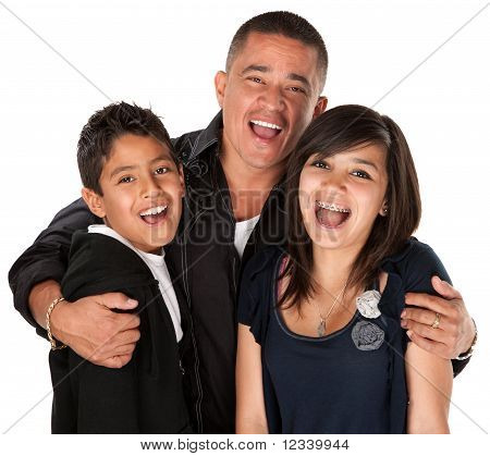 Hispanic Father Hugging Kids