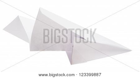Paper plane isolated on white background, close up view
