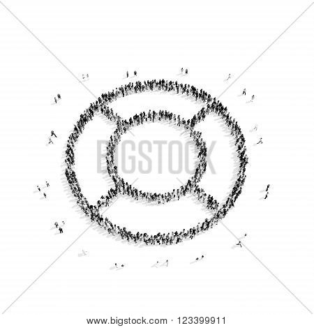 A group of people in the shape of a life buoy, rescue, flash mob.3D illustration.black and white