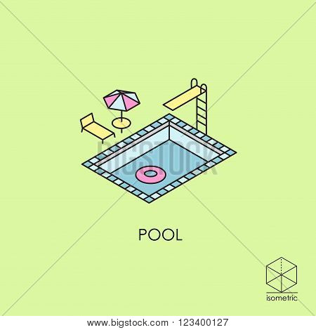 Isometric vector icon pool with umbrella and mattress