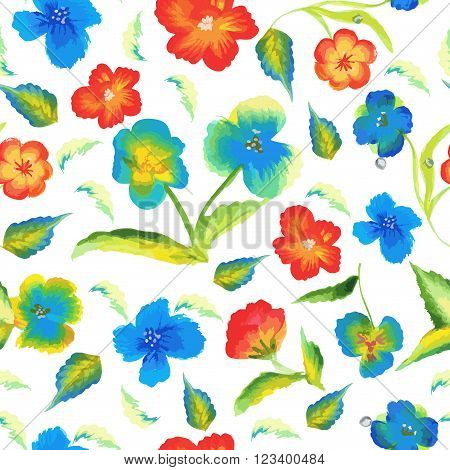 Spring floral seamless pattern, summer colorful flowers. Summer leaf flowers retro beauty fabric seamless pattern. Abstract elegance spring seamless pattern with watercolour floral background vector.