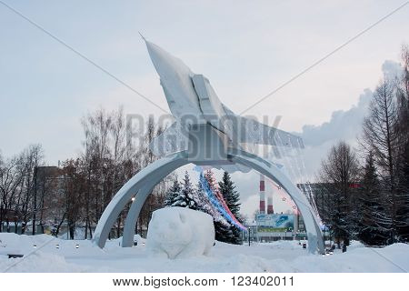 Perm, Russia, January 17.2016 Monument Mig On The Rise '