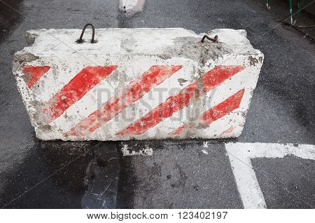 Road Block With Red White Striped Pattern
