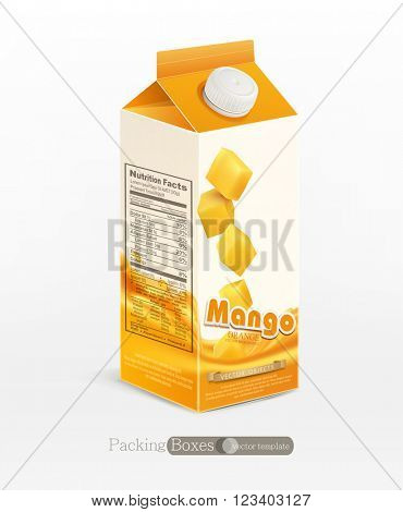 Vector pack of mango juice, isolated on white background