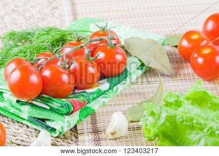 red ripe tomatoes with fresh greenery on a napkin