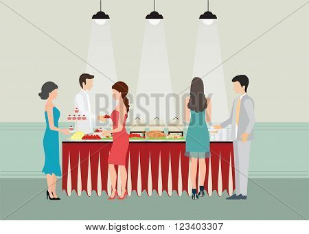 Buffet Dinner Dining Food Celebration Party Buffet table with many food roasted Turkey salad spaghetti lobster and fruit vector illustration.